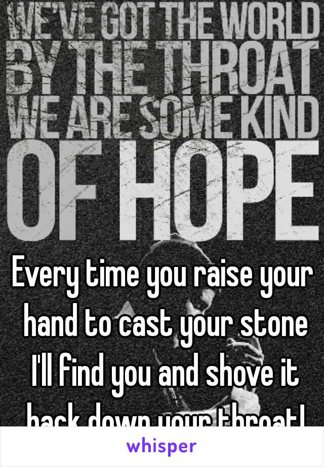 Every time you raise your hand to cast your stone I'll find you and shove it back down your throat!