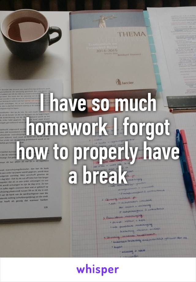 I have so much homework I forgot how to properly have a break