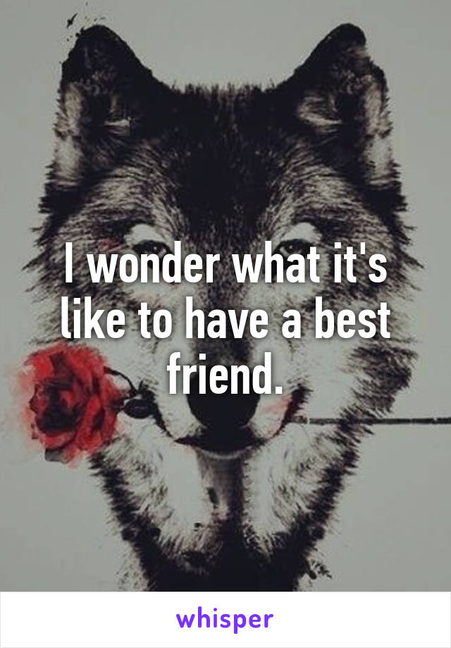 I wonder what it's like to have a best friend.