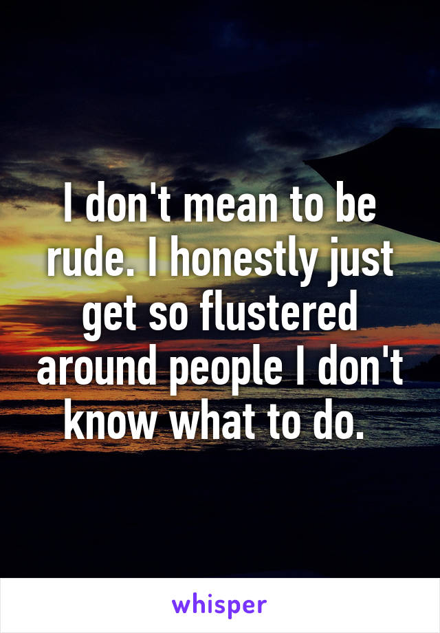 I don't mean to be rude. I honestly just get so flustered around people I don't know what to do.