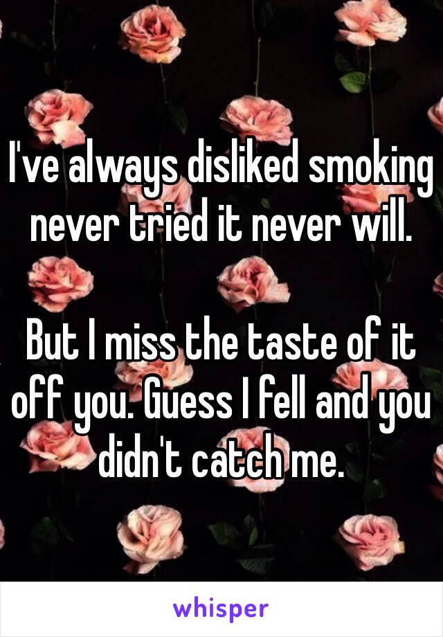 I've always disliked smoking never tried it never will.   But I miss the taste of it off you. Guess I fell and you didn't catch me.