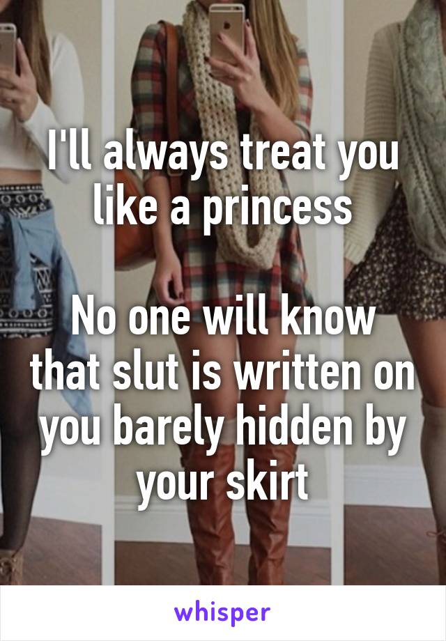 I'll always treat you like a princess  No one will know that slut is written on you barely hidden by your skirt