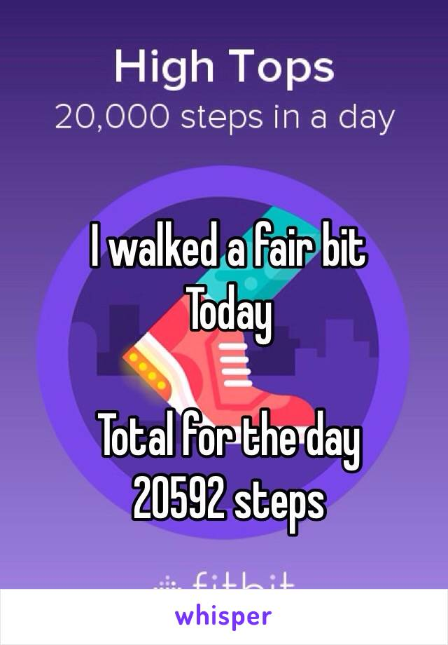 I walked a fair bit Today  Total for the day 20592 steps