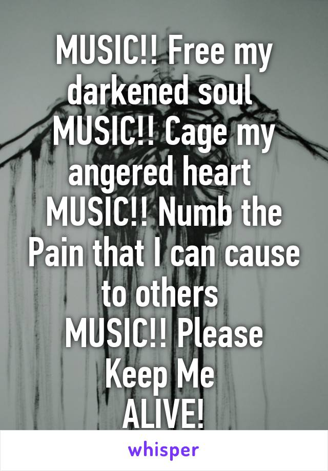 MUSIC!! Free my darkened soul  MUSIC!! Cage my angered heart  MUSIC!! Numb the Pain that I can cause to others  MUSIC!! Please Keep Me  ALIVE!