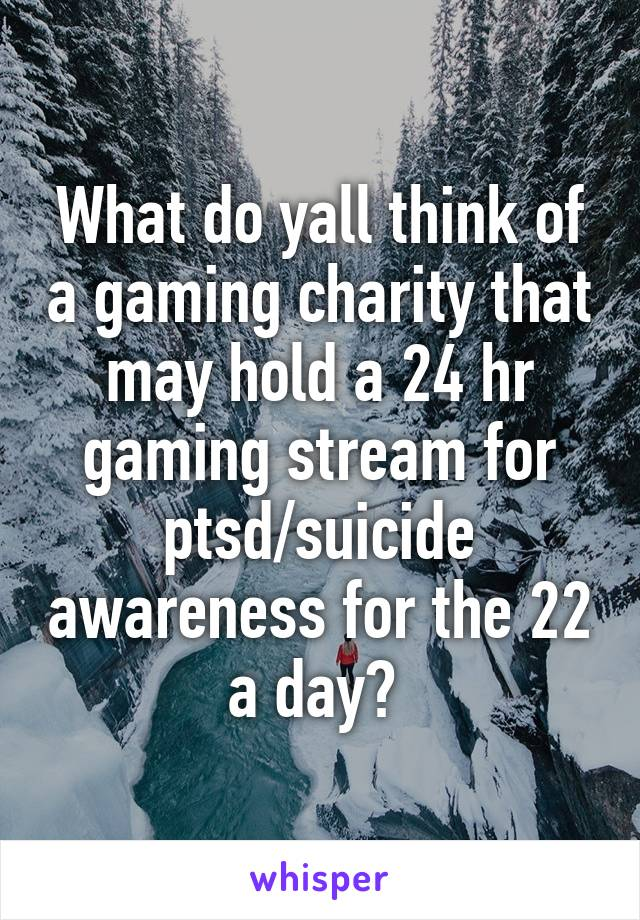 What do yall think of a gaming charity that may hold a 24 hr gaming stream for ptsd/suicide awareness for the 22 a day?