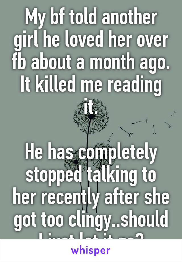 My bf told another girl he loved her over fb about a month ago. It killed me reading it.  He has completely stopped talking to her recently after she got too clingy..should I just let it go?