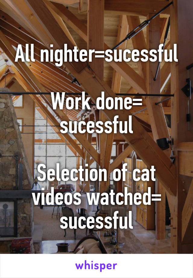 All nighter=sucessful  Work done= sucessful  Selection of cat videos watched= sucessful