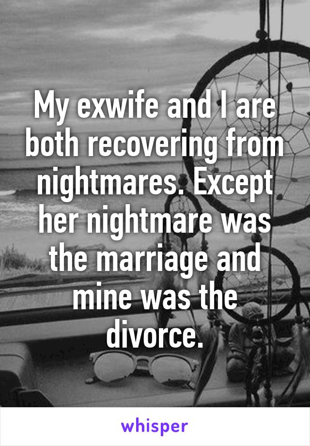 My exwife and I are both recovering from nightmares. Except her nightmare was the marriage and mine was the divorce.