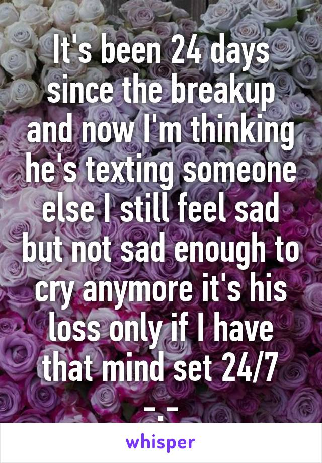 It's been 24 days since the breakup and now I'm thinking he's texting someone else I still feel sad but not sad enough to cry anymore it's his loss only if I have that mind set 24/7 -.-