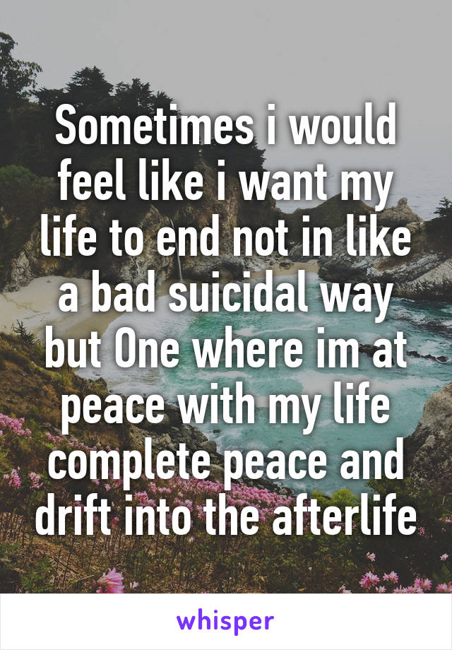 Sometimes i would feel like i want my life to end not in like a bad suicidal way but One where im at peace with my life complete peace and drift into the afterlife