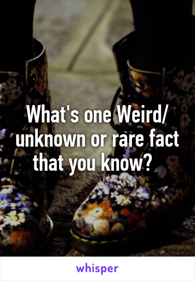 What's one Weird/ unknown or rare fact that you know?