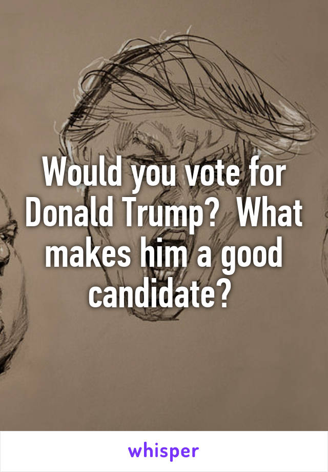 Would you vote for Donald Trump?  What makes him a good candidate?