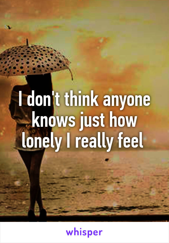 I don't think anyone knows just how lonely I really feel