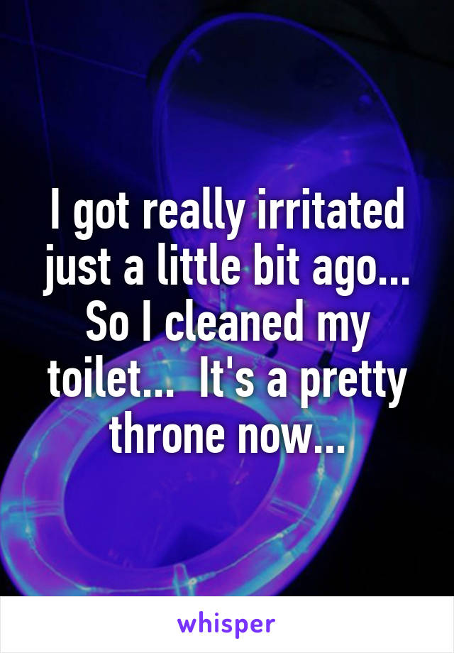I got really irritated just a little bit ago... So I cleaned my toilet...  It's a pretty throne now...