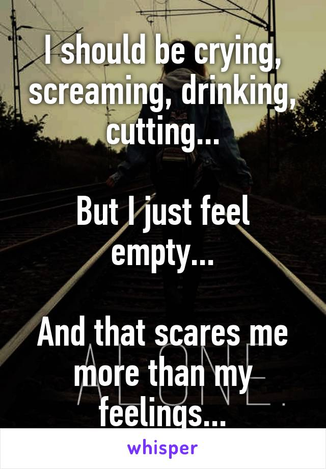 I should be crying, screaming, drinking, cutting...  But I just feel empty...  And that scares me more than my feelings...