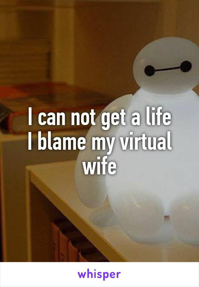 I can not get a life I blame my virtual wife