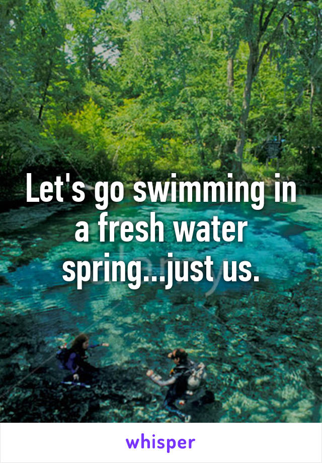 Let's go swimming in a fresh water spring...just us.