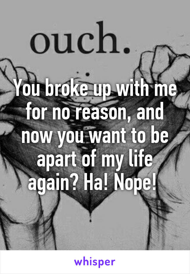 You broke up with me for no reason, and now you want to be apart of my life again? Ha! Nope!
