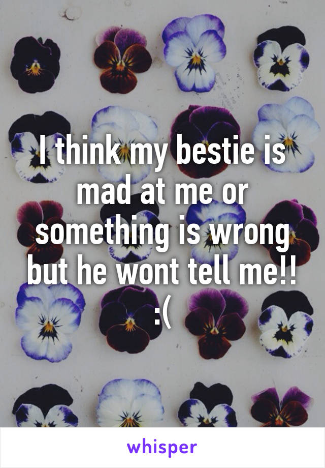 I think my bestie is mad at me or something is wrong but he wont tell me!! :(