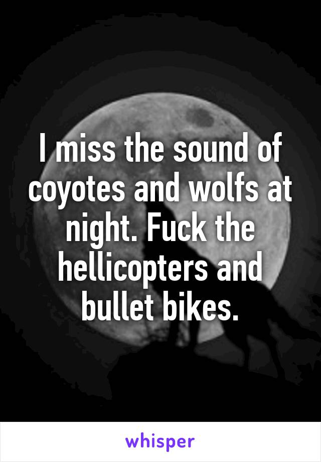 I miss the sound of coyotes and wolfs at night. Fuck the hellicopters and bullet bikes.
