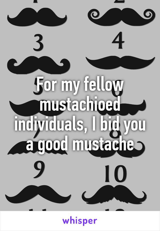 For my fellow mustachioed individuals, I bid you a good mustache