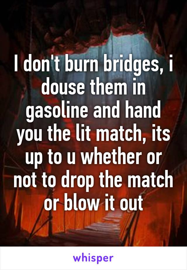 I don't burn bridges, i douse them in gasoline and hand you the lit match, its up to u whether or not to drop the match or blow it out