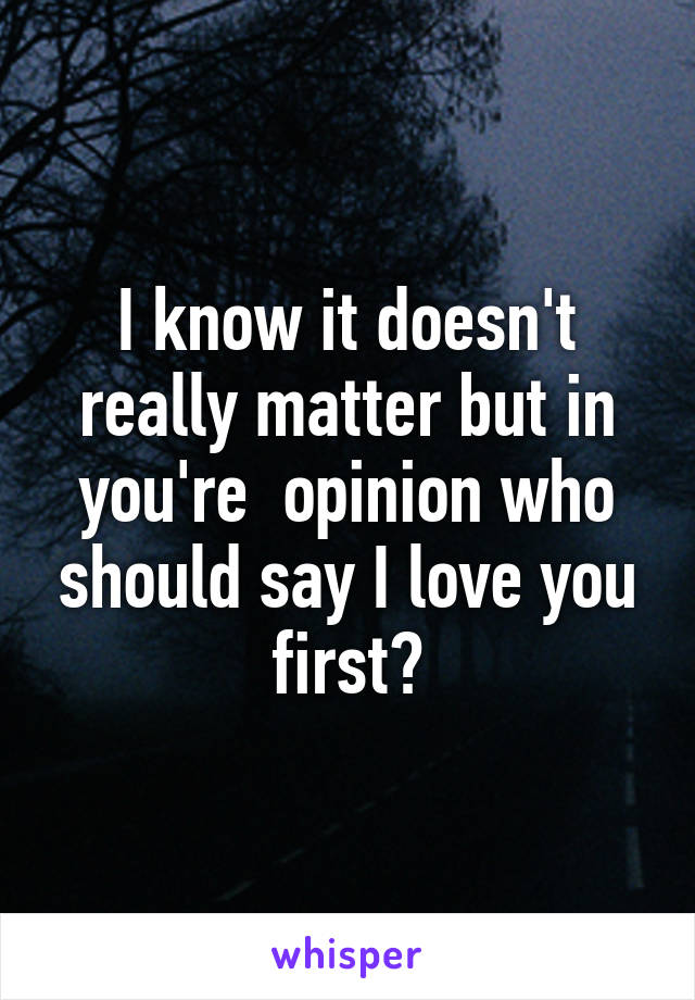 I know it doesn't really matter but in you're  opinion who should say I love you first?