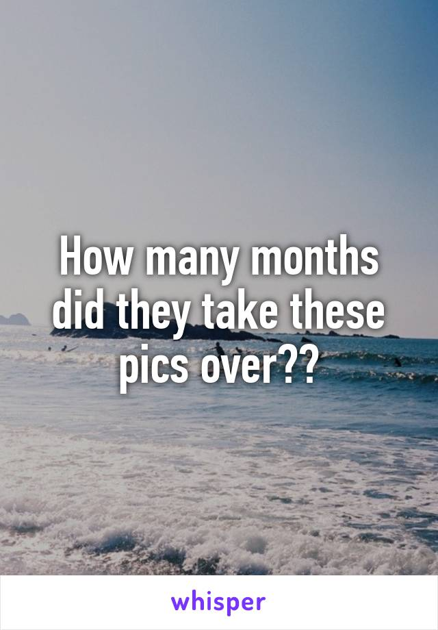 How many months did they take these pics over??