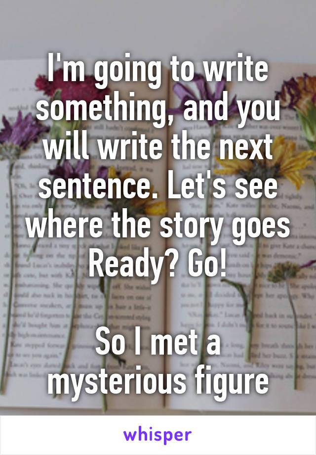 I'm going to write something, and you will write the next sentence. Let's see where the story goes Ready? Go!  So I met a mysterious figure