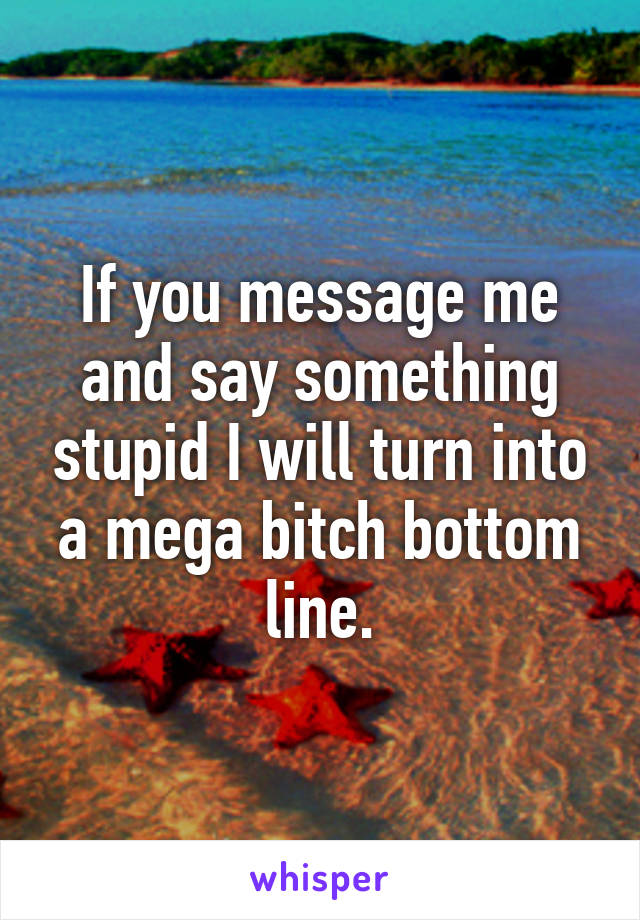 If you message me and say something stupid I will turn into a mega bitch bottom line.