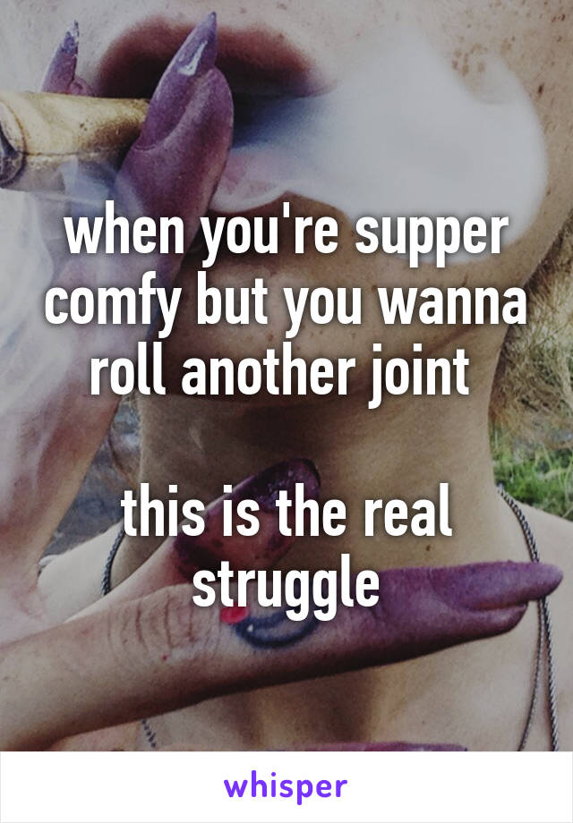 when you're supper comfy but you wanna roll another joint   this is the real struggle