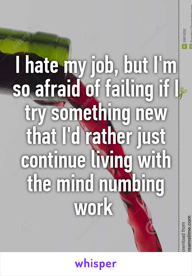 I hate my job, but I'm so afraid of failing if I try something new that I'd rather just continue living with the mind numbing work