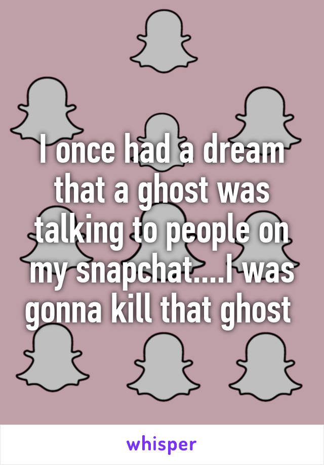 I once had a dream that a ghost was talking to people on my snapchat....I was gonna kill that ghost