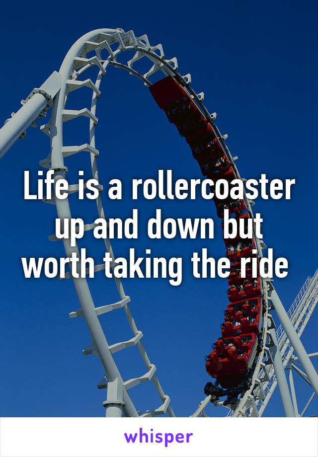 Life is a rollercoaster up and down but worth taking the ride