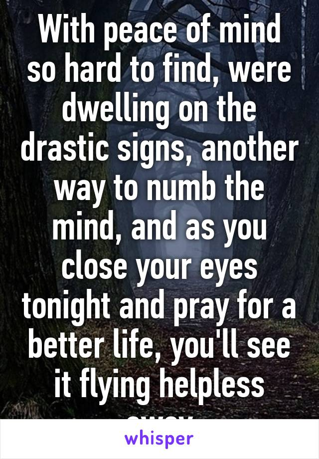 With peace of mind so hard to find, were dwelling on the drastic signs, another way to numb the mind, and as you close your eyes tonight and pray for a better life, you'll see it flying helpless away