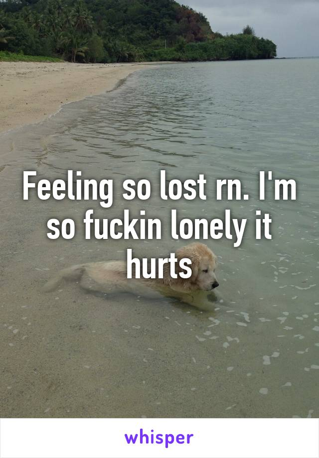 Feeling so lost rn. I'm so fuckin lonely it hurts