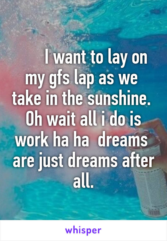 I want to lay on my gfs lap as we  take in the sunshine.  Oh wait all i do is work ha ha  dreams  are just dreams after all.