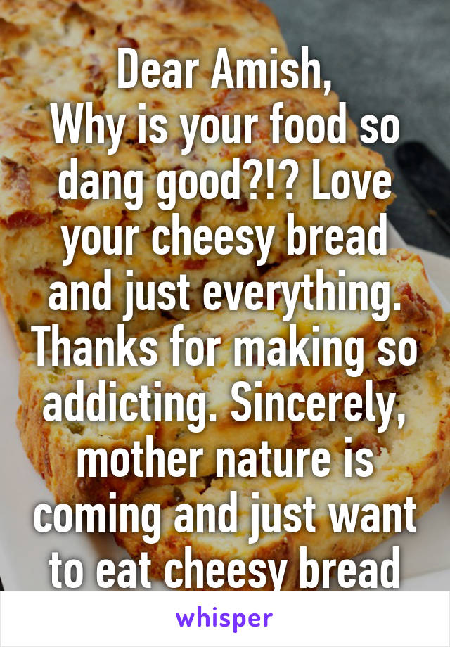 Dear Amish, Why is your food so dang good?!? Love your cheesy bread and just everything. Thanks for making so addicting. Sincerely, mother nature is coming and just want to eat cheesy bread