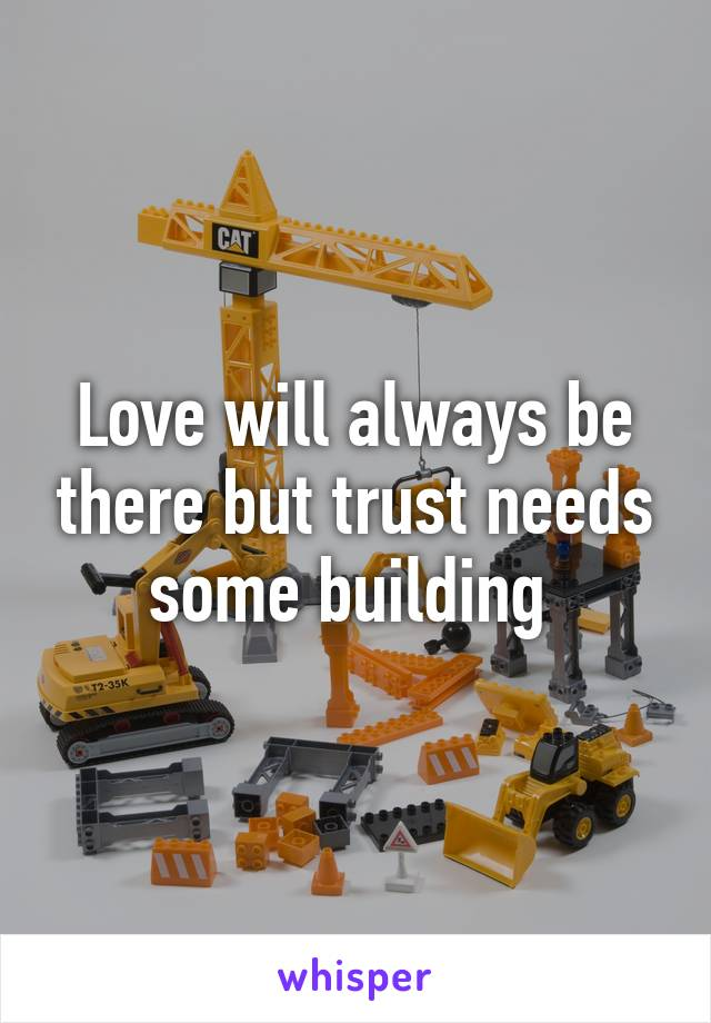 Love will always be there but trust needs some building