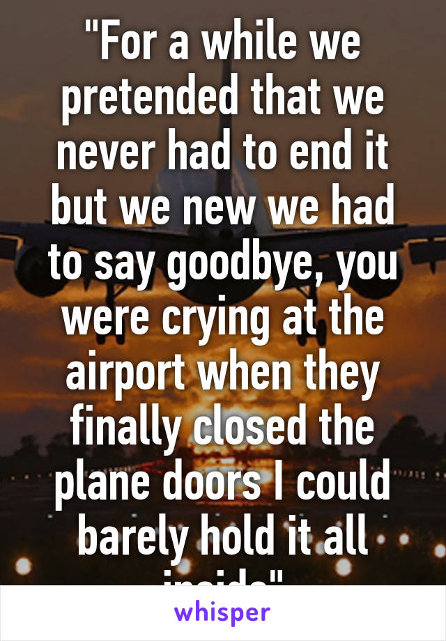 """""""For a while we pretended that we never had to end it but we new we had to say goodbye, you were crying at the airport when they finally closed the plane doors I could barely hold it all inside"""""""