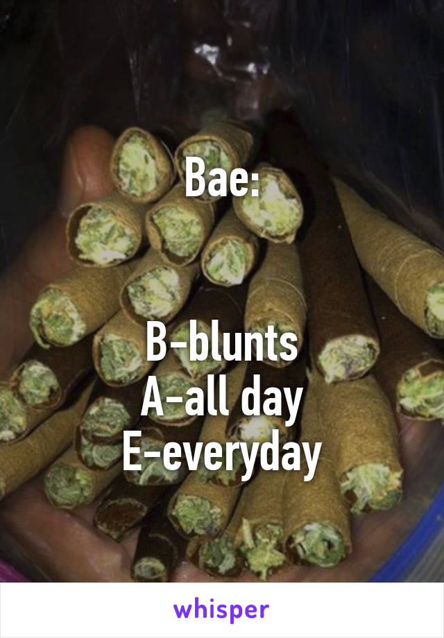 Bae:   B-blunts A-all day E-everyday