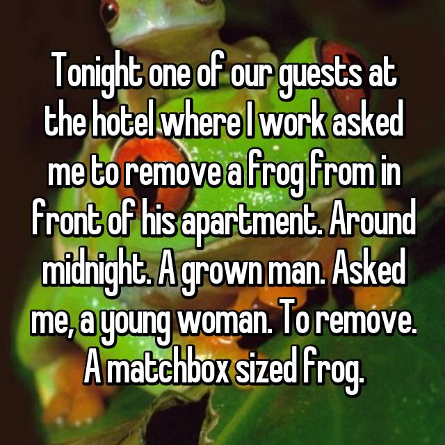 Tonight one of our guests at the hotel where I work asked me to remove a frog from in front of his apartment. Around midnight. A grown man. Asked me, a young woman. To remove. A matchbox sized frog.