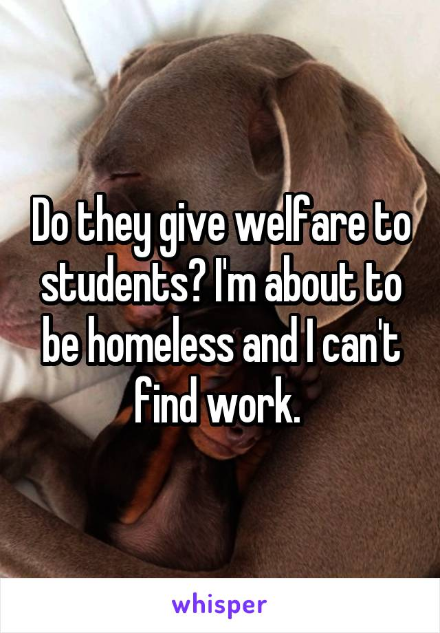 Do they give welfare to students? I'm about to be homeless and I can't find work.
