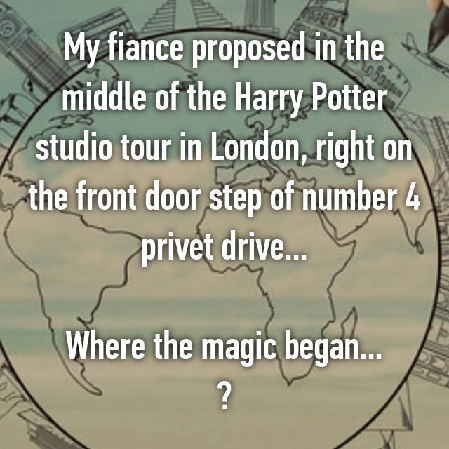 My fiance proposed in the middle of the Harry Potter studio tour in London, right on the front door step of number 4 privet drive...  Where the magic began... 💍✨