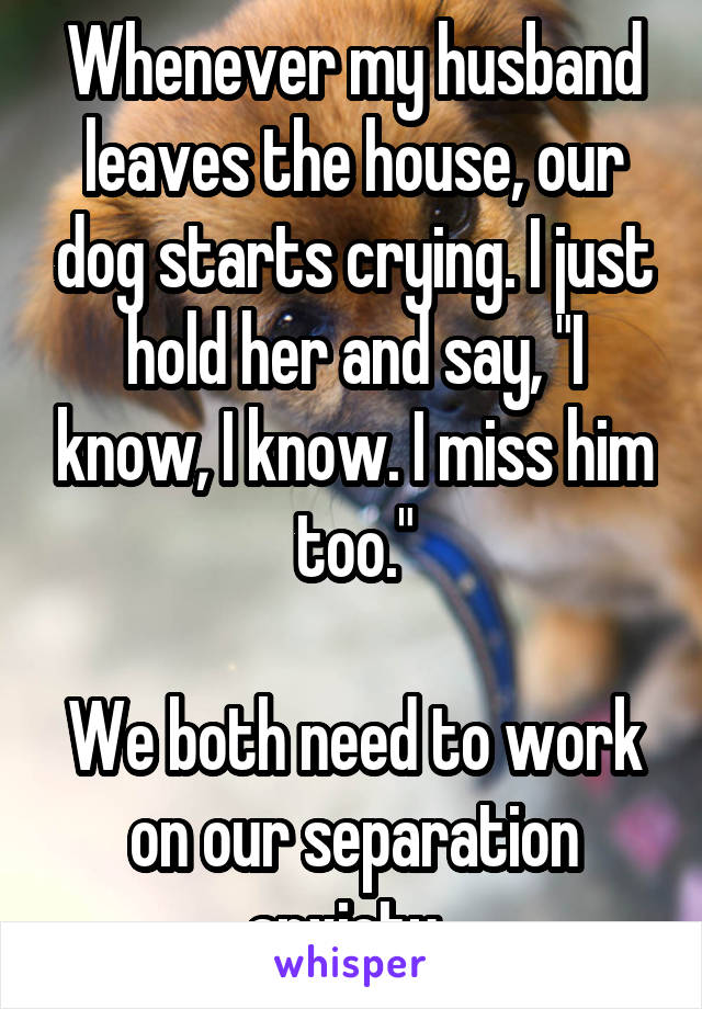"""Whenever my husband leaves the house, our dog starts crying. I just hold her and say, """"I know, I know. I miss him too.""""  We both need to work on our separation anxiety."""