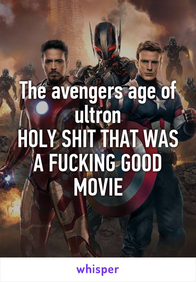 The avengers age of ultron HOLY SHIT THAT WAS A FUCKING GOOD MOVIE
