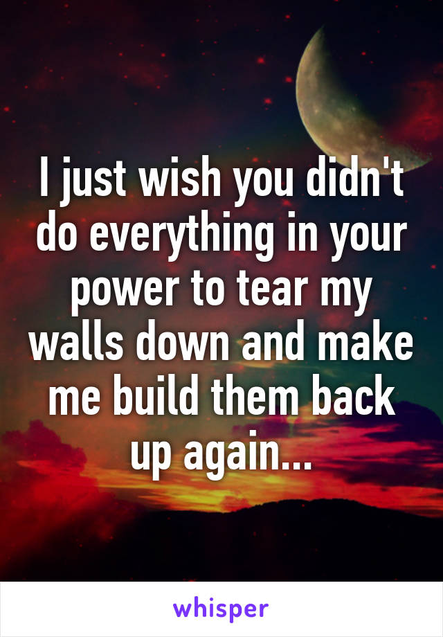 I just wish you didn't do everything in your power to tear my walls down and make me build them back up again...