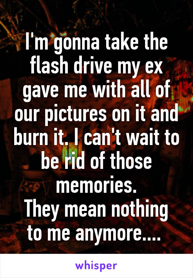 I'm gonna take the flash drive my ex gave me with all of our pictures on it and burn it. I can't wait to be rid of those memories. They mean nothing to me anymore....