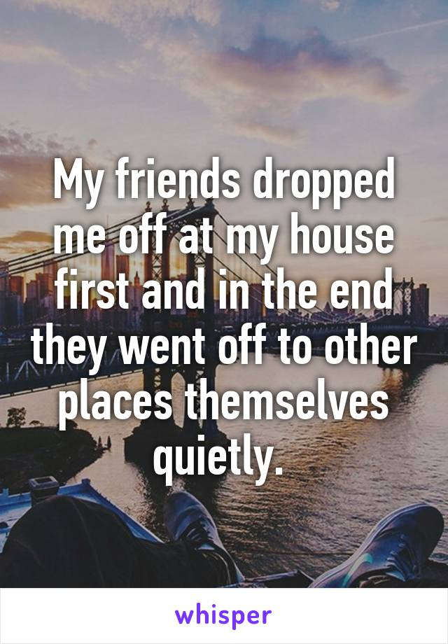 My friends dropped me off at my house first and in the end they went off to other places themselves quietly.