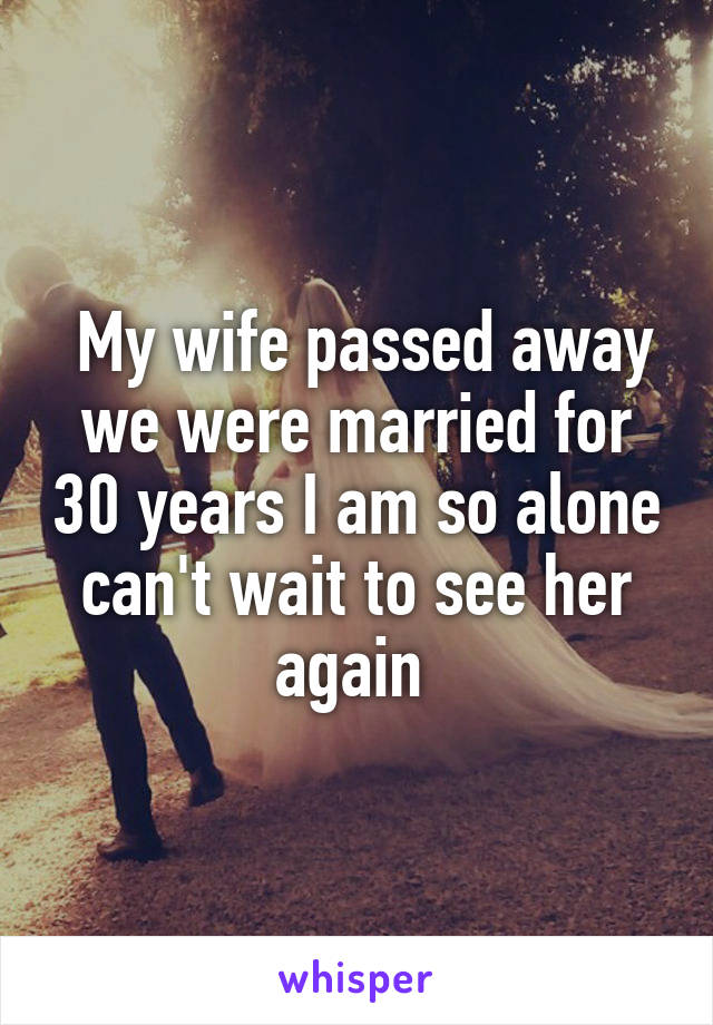 My wife passed away we were married for 30 years I am so alone can't wait to see her again